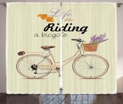 Bahar Temalı Fon Perde Bisiklet Çiçekler Mavi