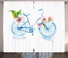 Bahar Temalı Fon Perde Gökkuşağı Bisiklet Çiçekler
