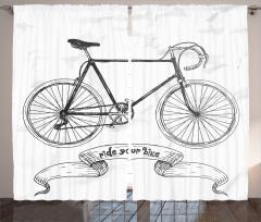 Karakalem Etkili Fon Perde Bisiklet Desenli Siyah
