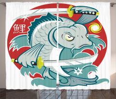 Japon Dekor Fon Perde Samuray Kılıçlı Koi Balığı