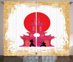 Japon Dekor Fon Perde Samuray Savaşı Tapınak Sarı