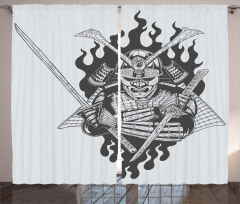 Japon Dekor Fon Perde Hayalet Samuray Gri Siyah
