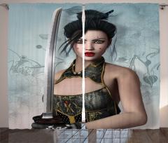 Japon Dekor Fon Perde Kadın Samuray ve Kılıcı