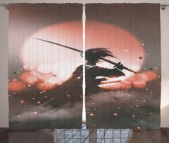 Samuray ve Gün Batımı Fon Perde Pembe Gri