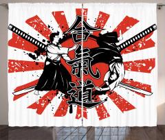 Samuray ve Kılıç Fon Perde Kırmızı Siyah
