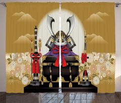 Samuray Desenli Fon Perde Bej Çiçek Japon Kılıç