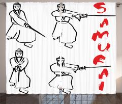 Samuray Temalı Fon Perde Siyah Beyaz Kırmızı Kılıç