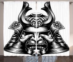 Samuray Kaskı Temalı Fon Perde Siyah Maske Japon