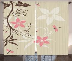 Çiçek ve Yusufçuk Fon Perde Pembe Çiçekler Bahar Temalı