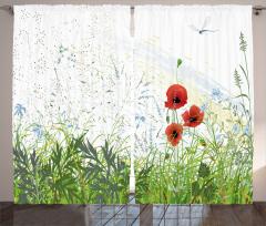 Gelincik Çiçeği Desenli Fon Perde Yusufçuk Bahar
