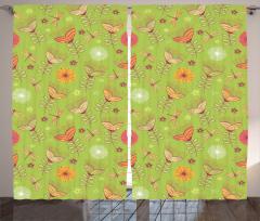 Çan Çiçeği Desenli Fon Perde Bahar Yeşil Turuncu