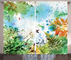 Kelebek ve Yaprak Fon Perde İlkbahar Doğa Yeşil
