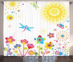 Yusufçuk ve Çiçek Fon Perde Yusufçuk Güneş Çiçekler