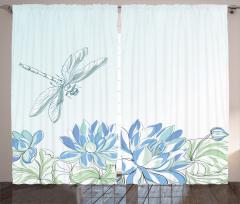 Yusufçuk ve Zambak Fon Perde Yusufçuk Çiçekler