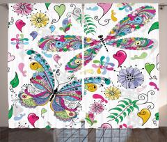 Rengarenk Kelebek Fon Perde Çiçekler Kalpler