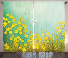 Çiçek ve Yusufçuk Fon Perde Papatyalar Yusufçuklar Sarı