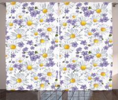 Bahar Çiçekleri Desenli Fon Perde Beyaz Papatya Mor Çiçek