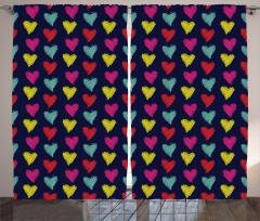 Rengarenk Kalp Desenli Fon Perde Siyah Kırmızı Sarı
