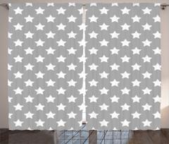 Beyaz Yıldız Desenli Fon Perde Gri Şık Tasarım