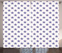 Lacivert Yıldız Desenli Fon Perde Kırmızı Beyaz