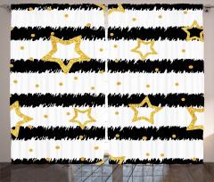 Yıldız Desenli Fon Perde Siyah Sarı Altın Çizgili