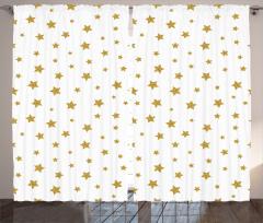 Altın Yıldızlı Fon Perde Beyaz Trend Çeyizlik