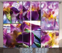Çiçek Desenli Fon Perde Mor Şık Tasarım Çeyizlik