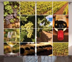 Şarap Temalı Fon Perde Üzüm Kırmızı Şişe Kadeh