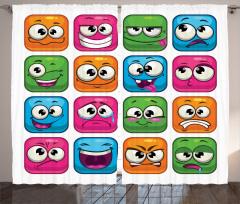 Rengarenk Emojiler Fon Perde Rengarenk Emoji Mavi Pembe