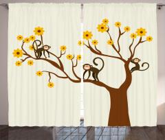 Ağaçtaki Maymun Fon Perde Kahverengi Ağaç Maymun