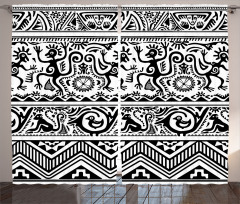 Etnik Hayvan Desenli Fon Perde Siyah Beyaz
