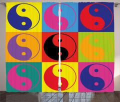 Rengarenk Yin Yang Fon Perde Dekoratif
