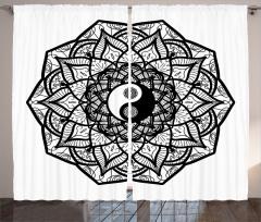 Çiçekli Yin Yang Fon Perde Şık Tasarım