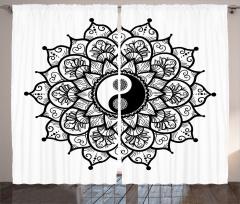 Yin Yang ve Çiçek Fon Perde Şık Tasarım