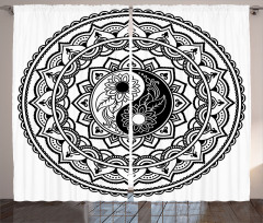 Yin Yang ve Daire Şal Fon Perde Dekoratif