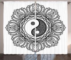 Uzak Doğu Etkili Şal Fon Perde Yin Yang