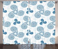 Mavi Üçlü Kelt Spirali Fon Perde Geometrik