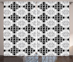 Siyah Beyaz Kelt Düğüm Fon Perde Geometrik