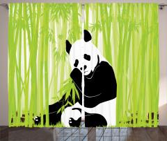 Bambu ve Panda Desenli Fon Perde Dekoratif Şık