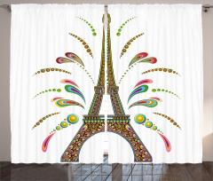 Eyfel Kulesi ve Renkler Fon Perde Şık