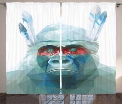 Mavi Kristal Maymun Fon Perde Dekoratif