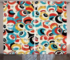 Modern Rengarenk Göz Fon Perde Beyaz Fonlu