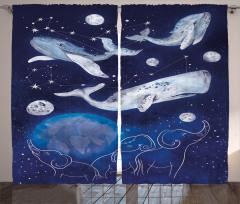 Balina Takım Yıldızı Fon Perde Mavi