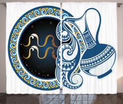 Kova Burcu Desenli Fon Perde Sarı Mavi Lacivert