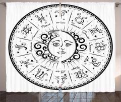 Burçlar Ay ve Güneş Fon Perde Siyah Beyaz