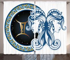 İkizler Burcu Desenli Fon Perde Lacivert ve Mavi