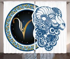 Koç Burcu Desenli Fon Perde Mavi Sarı ve Lacivert