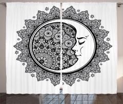 Çiçekli Aydede Desenli Fon Perde Siyah ve Beyaz