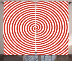 Kırmızı Beyaz Girdap Fon Perde Dekoratif