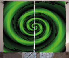 Sarı Yeşil Girdap Fon Perde Şık Tasarım